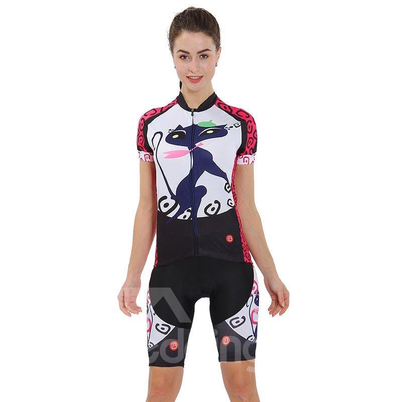 Cycling Jersey Shirt Quick Dry Cat Lady Pattern Clothing Bike