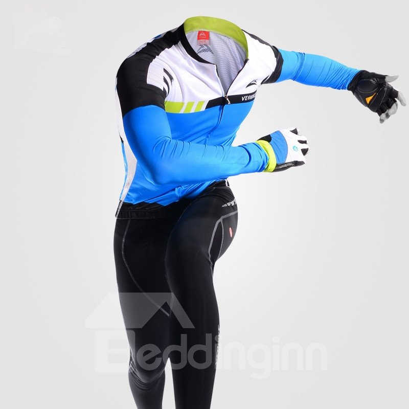 Cycling Jersey Outfits Windproof Bike Clothing Sets Blue