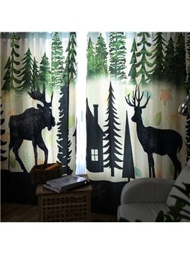 Decoration and Blackout Polyester Two Symmetrical Elks Modern Style 2 Pieces Curtain