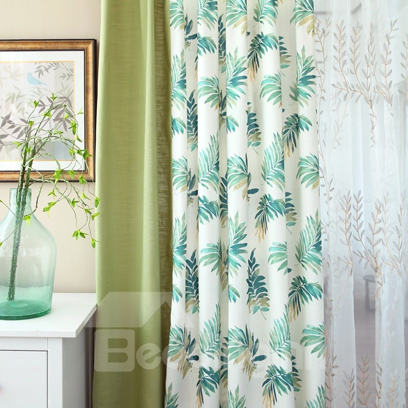Decoration and Blackout Polyester Beautiful Fern Leaves Pastoral Style 2 Panels Curtain