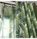 Blackout and Dust-Proof Polyester Printing Green Leaves Countryside Style Room Curtains