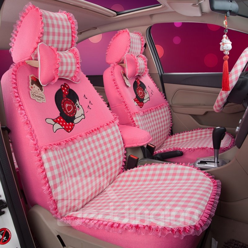 Cute Girly Figures Squares Pattern With Laced Sides Custom Fit Car ...