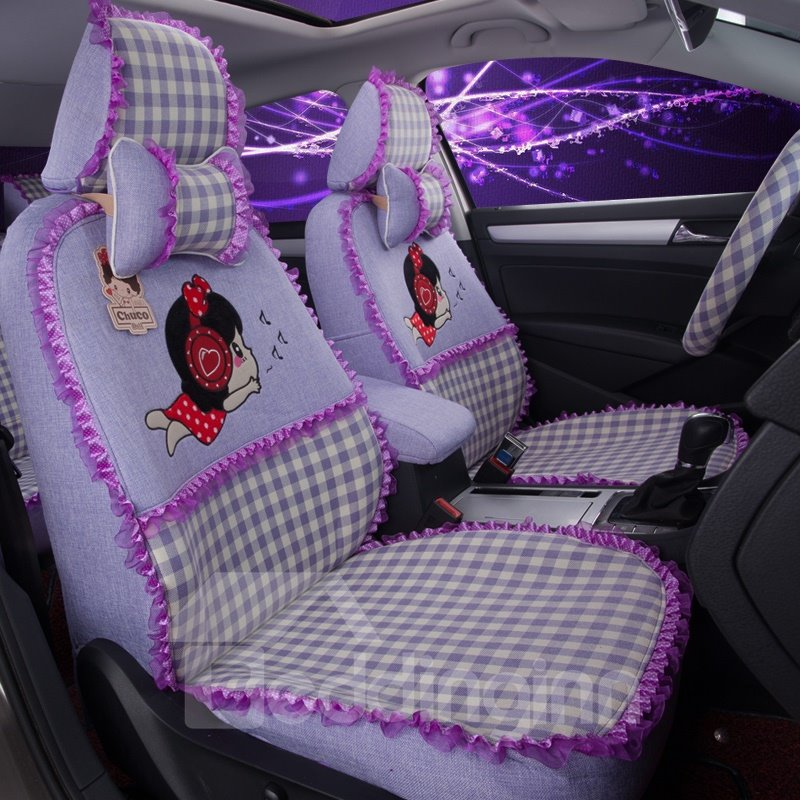 cute girly figures squares pattern with laced sides custom fit car seat covers. Black Bedroom Furniture Sets. Home Design Ideas