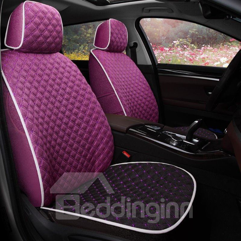 Dark Dual Colored Theme Plaid Patterns Comfortable Custom Fit Car Seat Covers