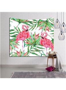 Pink Flamingos and Tropical Palm Leaves Decorative Hanging Wall Tapestry