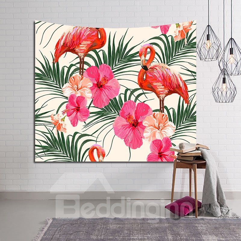 Sleepy Flamingos and Tropical Floral Plants Decorative Hanging Wall Tapestry