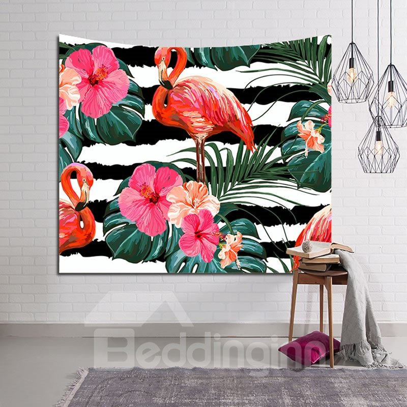 Flamingos and Blooming Flowers Foliage Design Stripe Decorative Hanging Wall Tapestry
