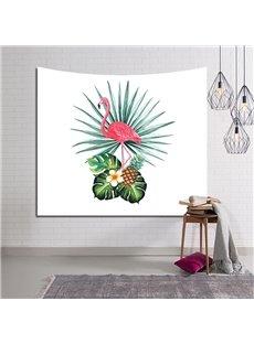 Flamingo and Banana Leaf Foliage Design Decorative Hanging Wall Tapestry