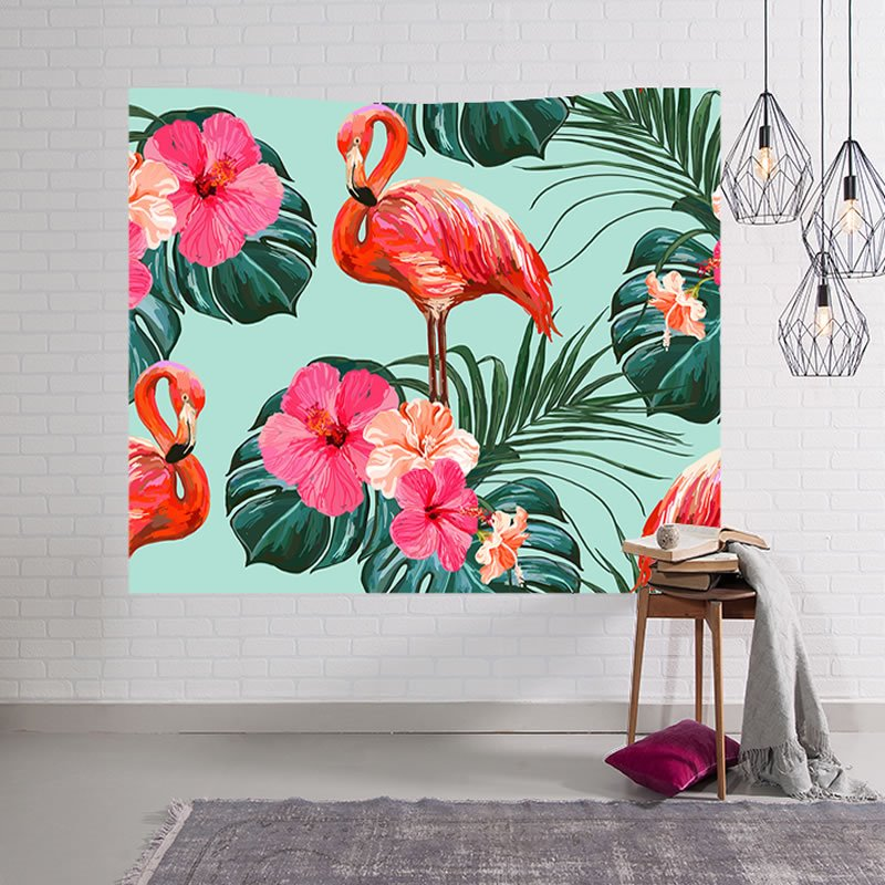 Flamingos and Floral Foliage Design Decorative Hanging Wall Tapestry