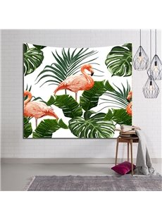 Flamingo Standing Still among Tropical Leaves Decorative Hanging Wall Tapestry