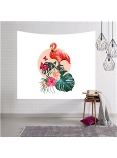 Flamingo Floral Butterfly and Foliage Design Decorative Hanging Wall Tapestry
