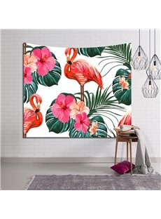 Sleepy Flamingos and Tropical Flowers Decorative Hanging Wall Tapestry