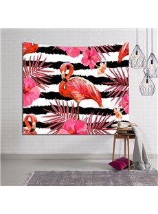 Pink Flamingo and Tropical Plants Stripe Decorative Hanging Wall Tapestry