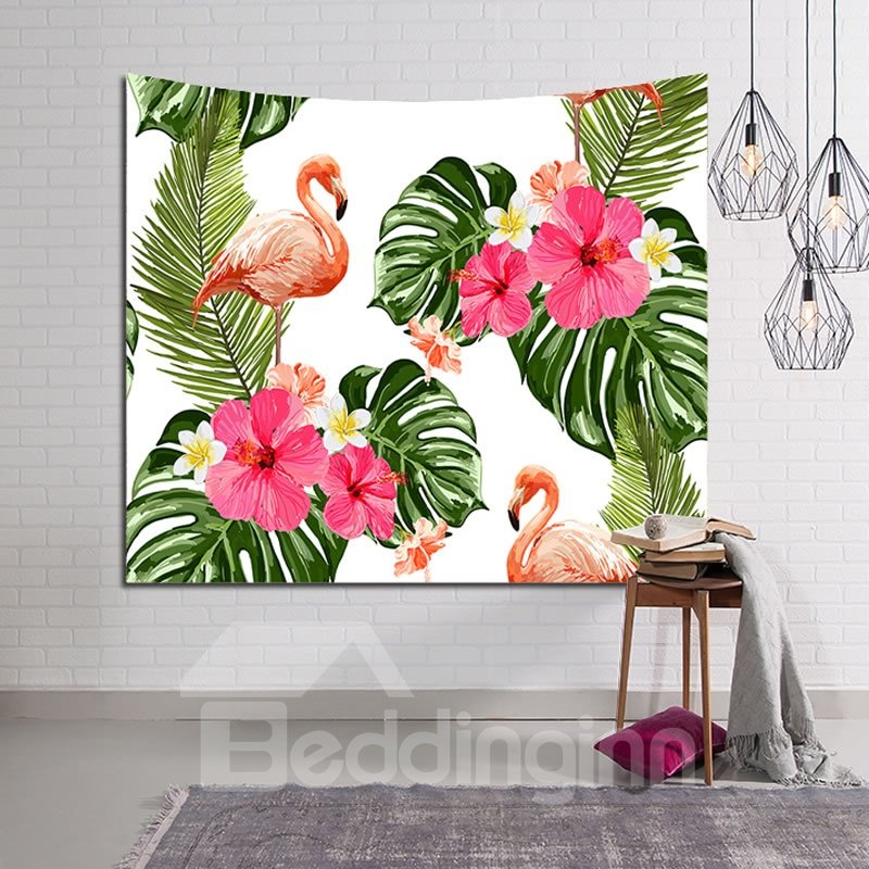 Decorative Tropical Flower Foliage Design Hanging Wall Tapestry