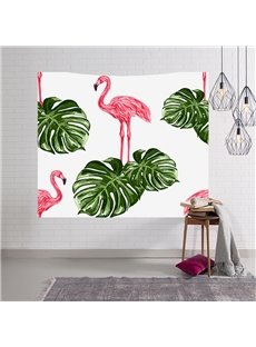 Decorative Flamingos and Tropical Plants Hanging Wall Tapestry