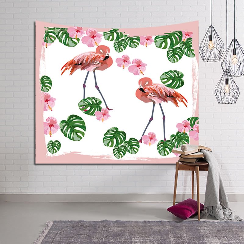 Pink Flamingo with Tropical Plants Edge Decorative Hanging Wall Tapestry