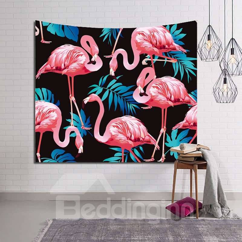 Pink Flamingos and Tropical Leaves Black Decorative Hanging Wall Tapestry