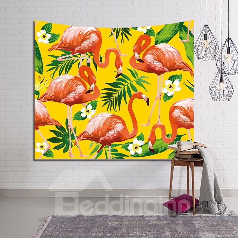 Flamingos and Tropical Leaves Yellow Decorative Hanging Wall Tapestry