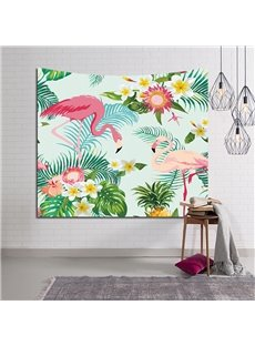 Flamingos in Love and Tropical Flowers Decorative Hanging Wall Tapestry
