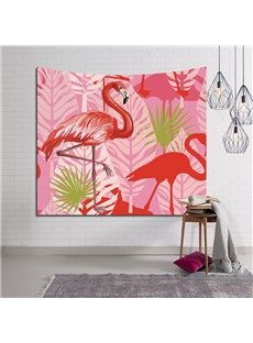 Red Flamingos and Tropical Leaves Pink Decorative Hanging Wall Tapestry