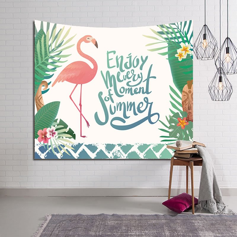 Summer Tropical Plants and Flamingo Decorative Hanging Wall Tapestry
