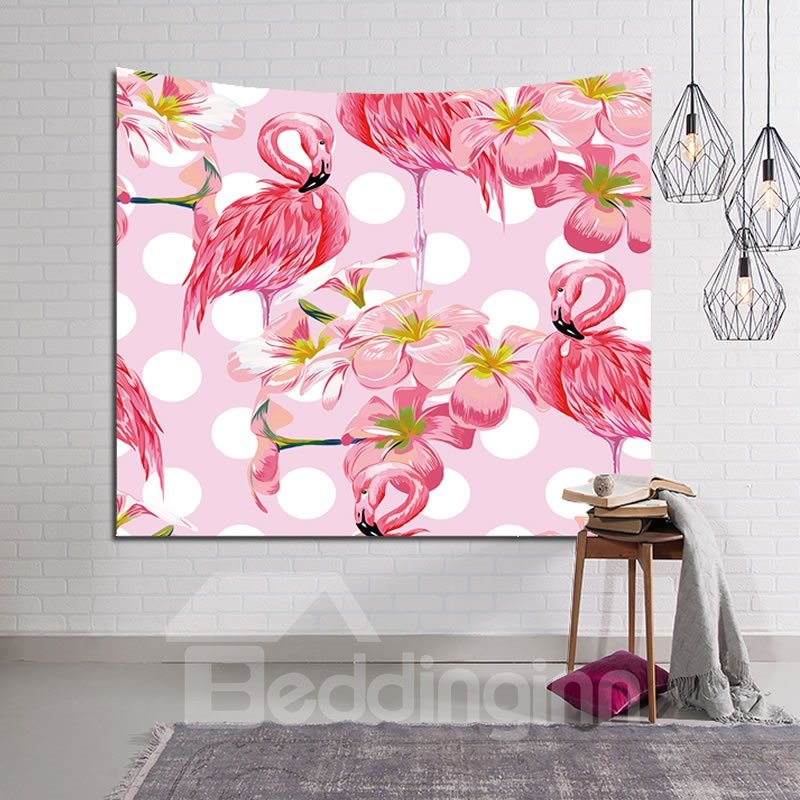 Flamingos and Flowers Pattern Pink Decorative Hanging Wall Tapestry