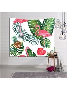 Tropical Plants and Flamingo with Pineapple Decorative Hanging Wall Tapestry
