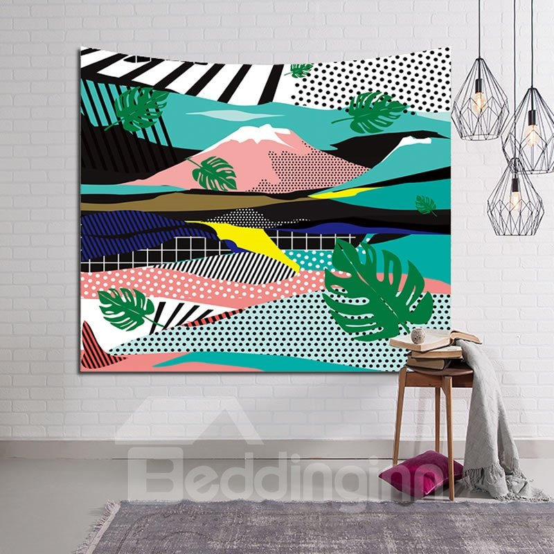 Tropical Palm Leaves with Running-Like Rivers Decorative Hanging Wall Tapestry