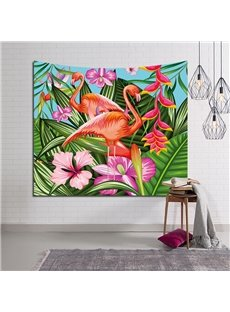 Bright Orange Flamingos with Tropical Flowers Decorative Hanging Wall Tapestry