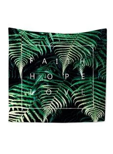 Emerald Green Leaves Foliage Design Decorative Hanging Wall Tapestry