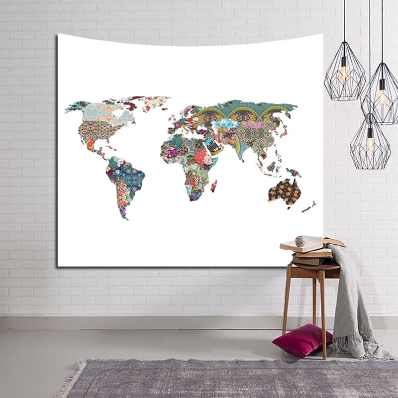 Colorful World Map Boho Chic Decorative Hanging White Wall Tapestry