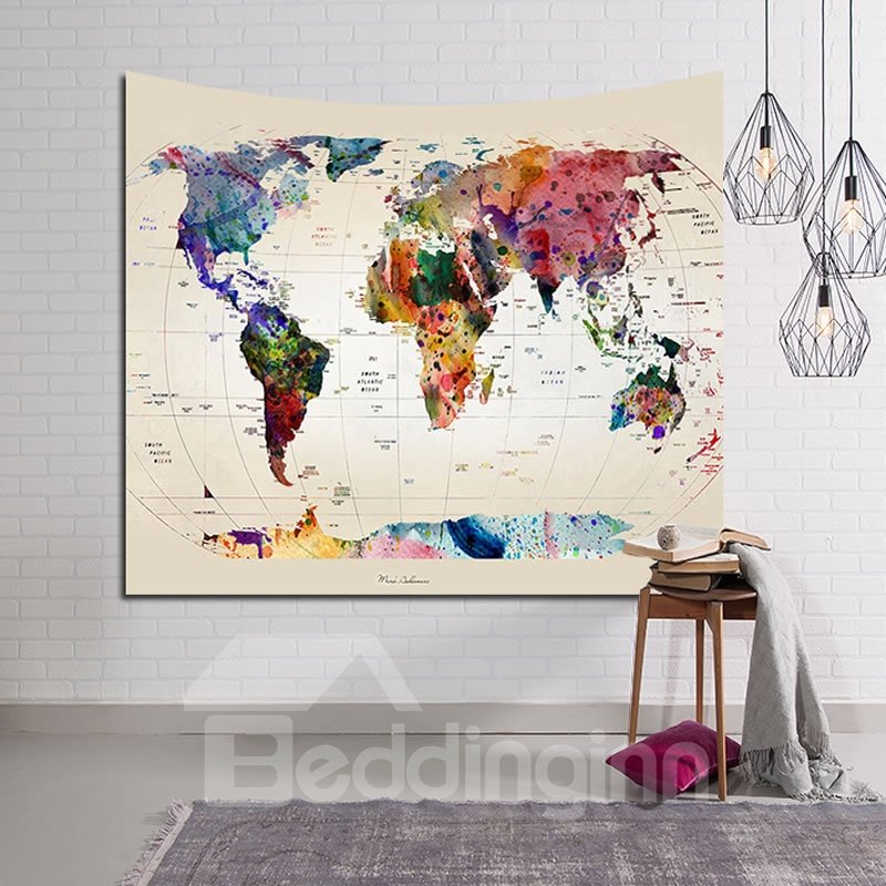 Multi Watercolors World Map Painting Decorative Hanging Wall ... on