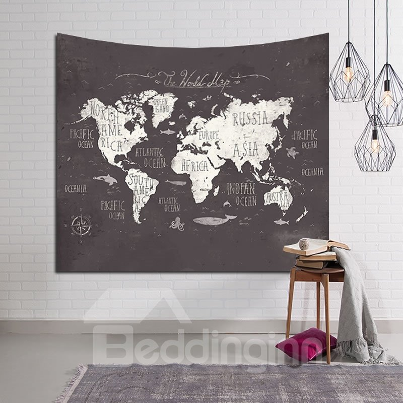 Decorative World Map Prints Retro Style Hanging Wall Tapestry