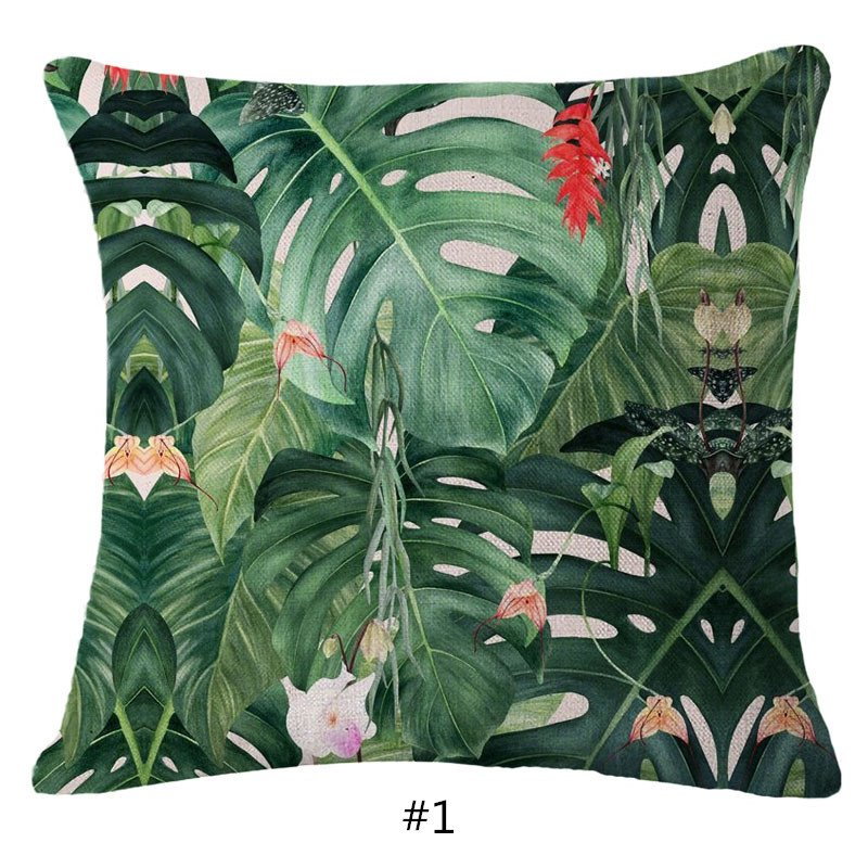 Hand-Painted Tropical Leaves Foliage Design Linen Throw Pillowcases