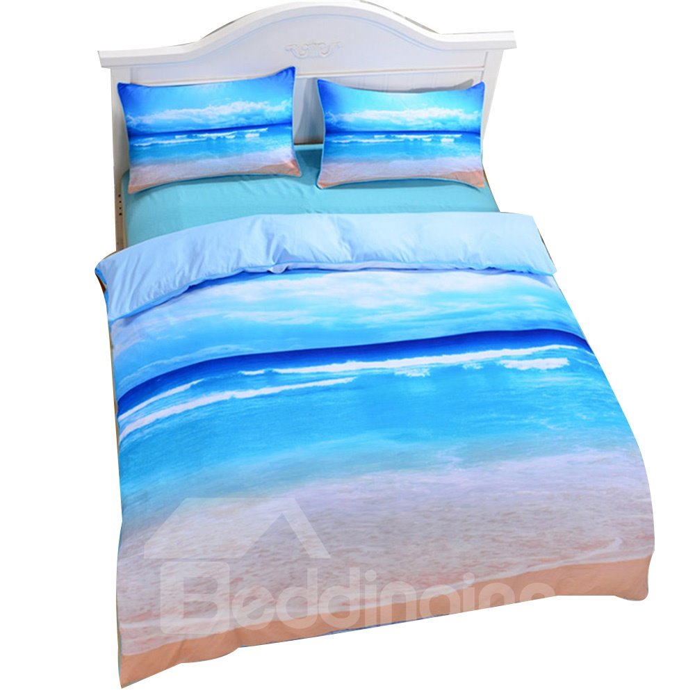3D Sea Scenery Printed Polyester 3-Piece Blue Bedding Sets/Duvet Covers