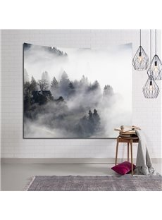 Mysterious Foggy Forest and Mountains Decorative Hanging Wall Tapestry