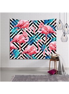 Flamingo and Blue Tropical Plants Plaid Decorative Hanging Wall Tapestry