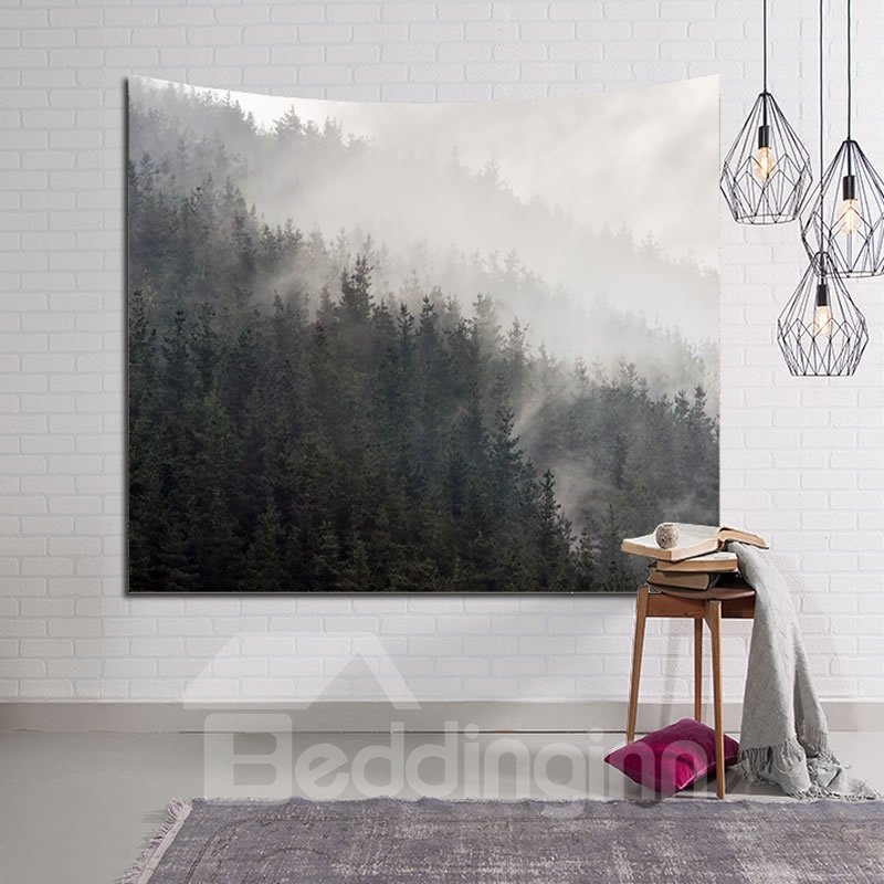 Foggy Mountains and Forest Decorative Hanging Wall Tapestry