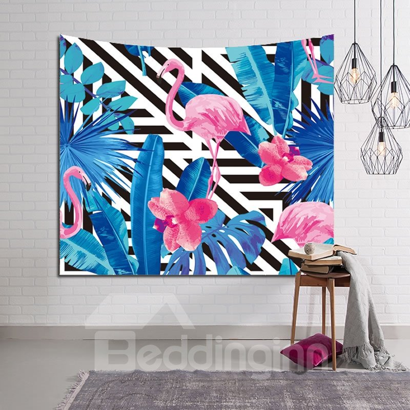 Flamingo among Blue Tropical Plants Decorative Hanging Wall Tapestry