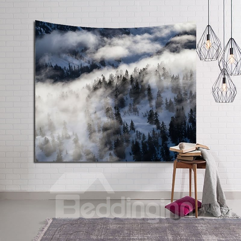 Foggy Woods Landscape Decorative Hanging Wall Tapestry