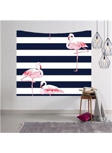 Pink Flamingo and Stripes Decorative Hanging Wall Tapestry