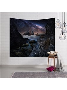 Rock and Galaxy Sky Decorative Hanging Wall Tapestry