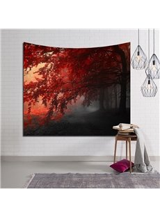 Magical Path and Red Leaves Decorative Hanging Wall Tapestry