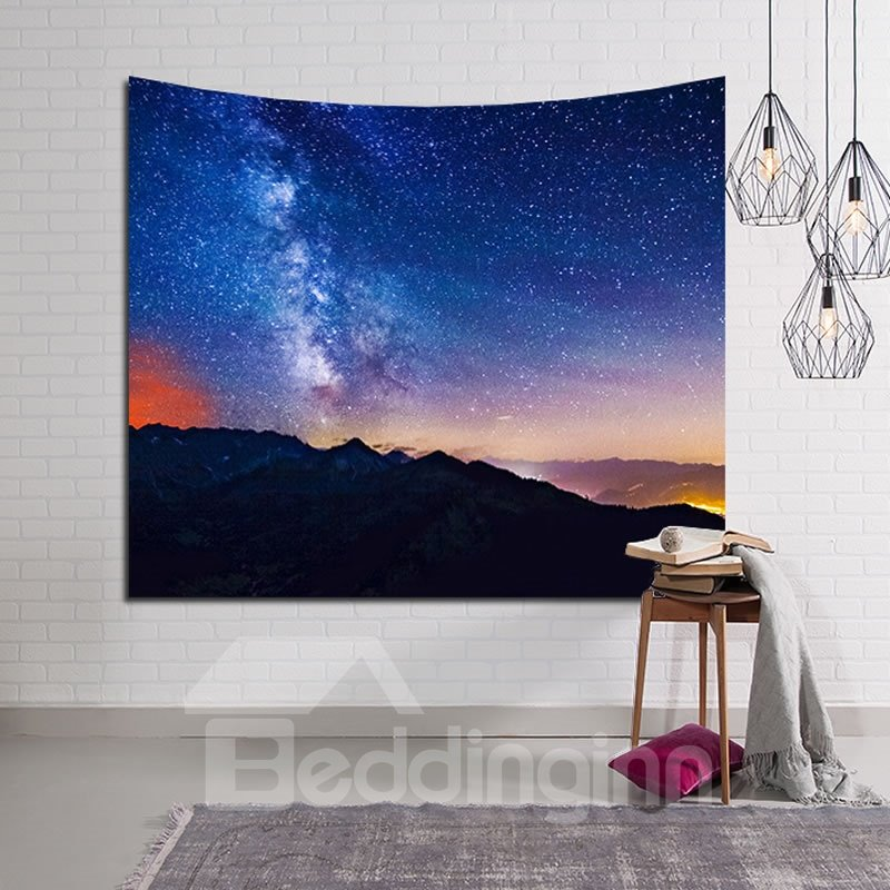 Mountain and Galaxy Stars Twinkle Decorative Hanging Wall Tapestry