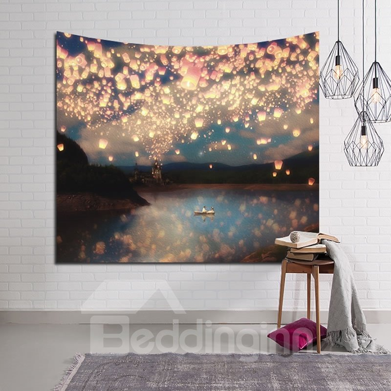 Wish and Love Lanterns Bright Sky Decorative Hanging Wall Tapestry