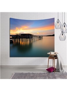 Dusk Trestle Bridge and Ocean Decorative Hanging Wall Tapestry