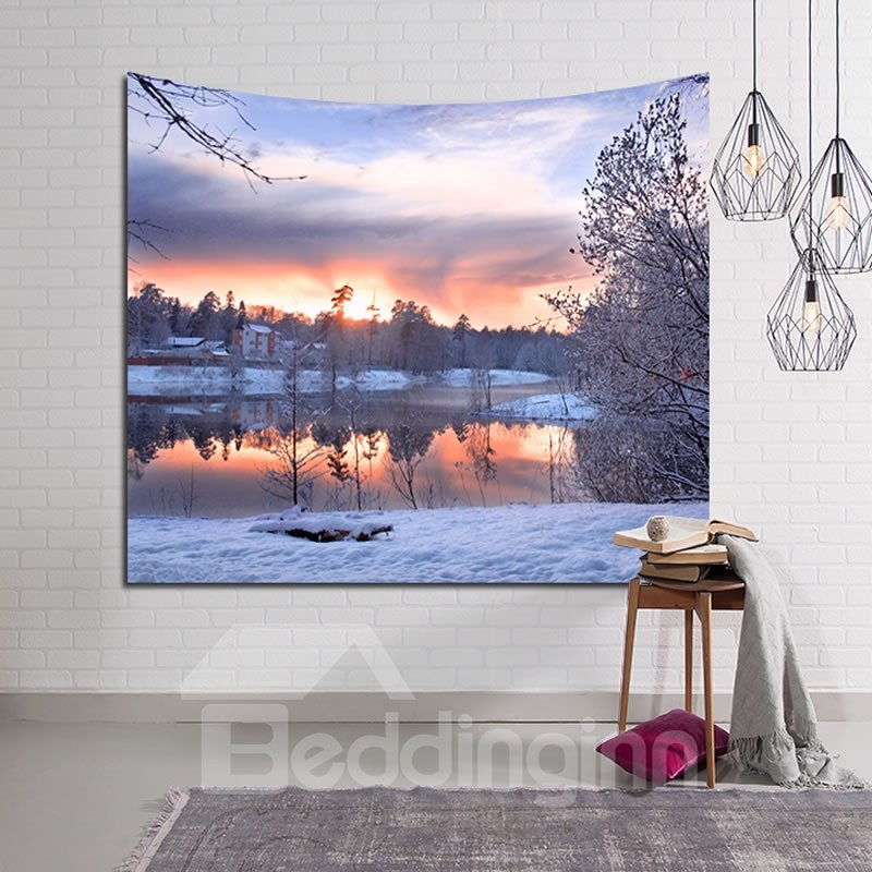 Winter Snowy Village and Lake Decorative Hanging Wall Tapestry