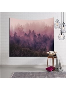 Pink Foggy Mystery Woods Decorative Hanging Wall Tapestry