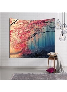 Magical Woods Autumn Red Leaves Decorative Hanging Wall Tapestry