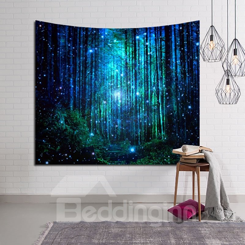 Magical Path and Forest Firefly Twinkle Decorative Hanging Wall Tapestry